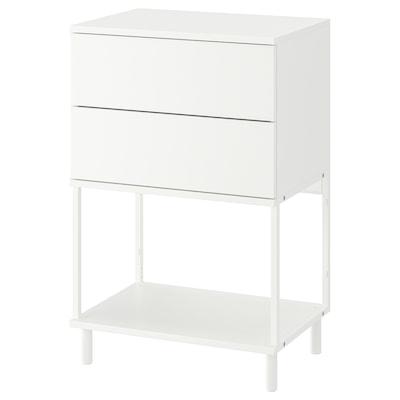 PLATSA خزانة بـدرجين, أبيض/Fonnes, 60x42x93 سم