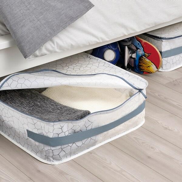 PLUGGHÄST حقيبة تخزين, منقوش أبيض/شفاف, 55x49x19 سم