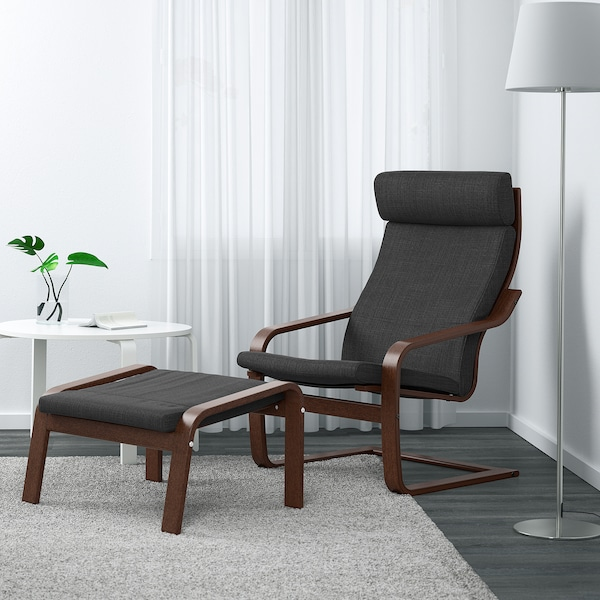 POÄNG Armchair, brown/Hillared anthracite