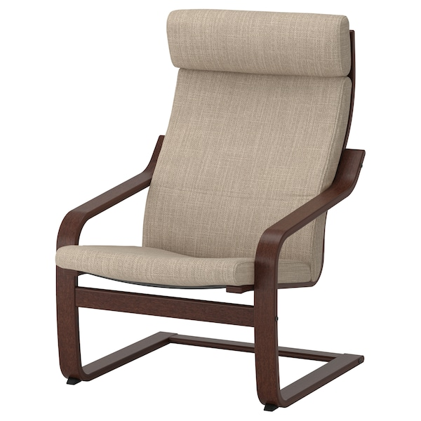 POÄNG Armchair, brown/Hillared beige