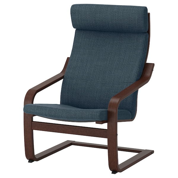 POÄNG Armchair, brown/Hillared dark blue