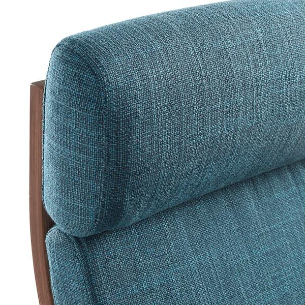 POÄNG Armchair - brown, Hillared dark blue - IKEA