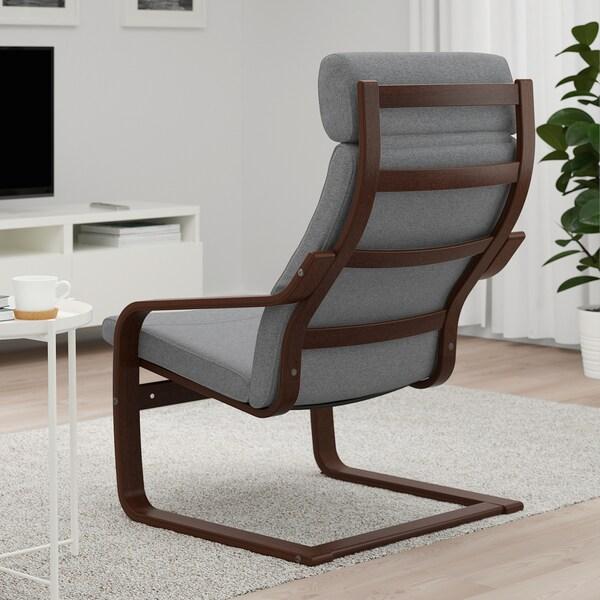 POÄNG Armchair, brown/Lysed grey