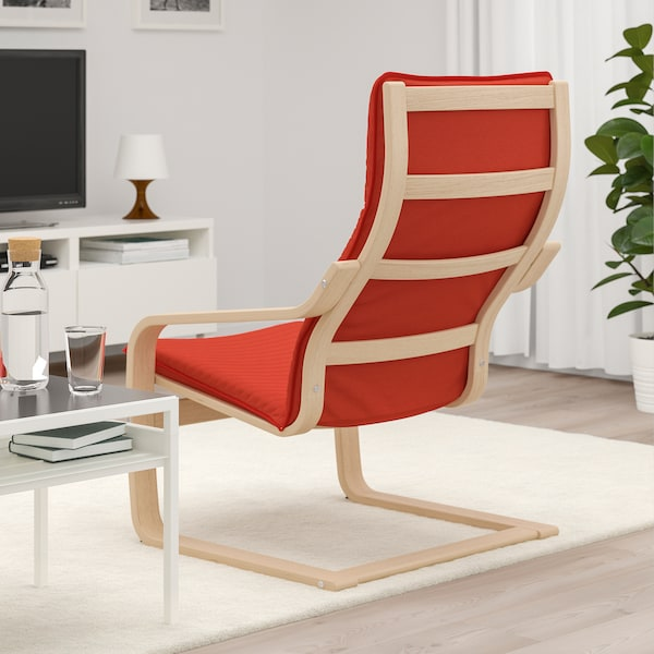 POÄNG Armchair - white stained oak veneer, Knisa red ...