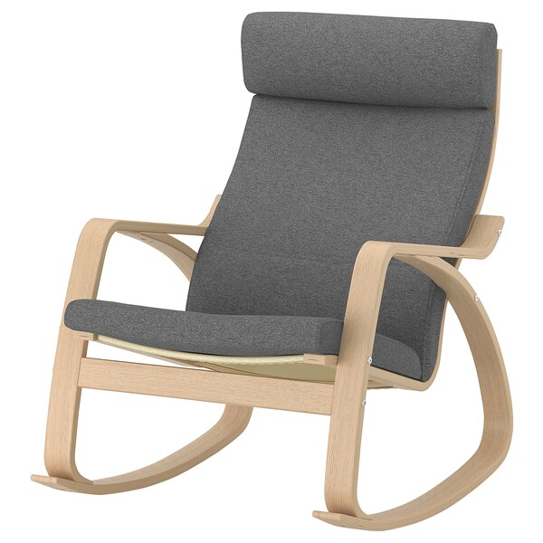 POÄNG Rocking-chair, white stained oak veneer/Lysed grey