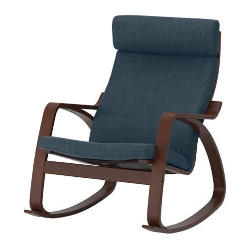 Po ng rocking chair hillared dark blue ikea for Chaise bercante