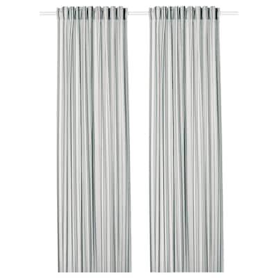 PRAKTKLOCKA Curtains, 1 pair, grey/striped, 145x300 cm