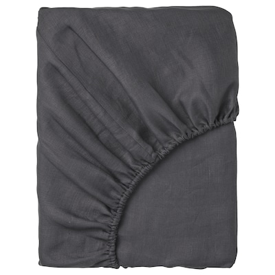 PUDERVIVA شرشف بمطاط, رمادي غامق, 140x200 سم