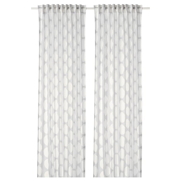 REIDUNN Curtains, 1 pair, white/grey, 145x300 cm