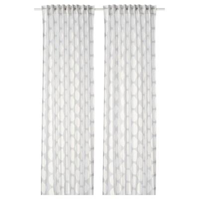 REIDUNN Curtains, 1 pair, white/grey, 145x300 cm
