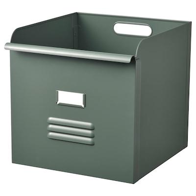 REJSA Box, grey-green/metal, 32x35x32 cm