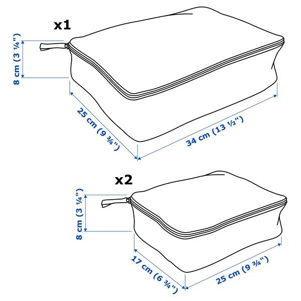 RENSARE Clothes bag, set of 3, check pattern/grey black