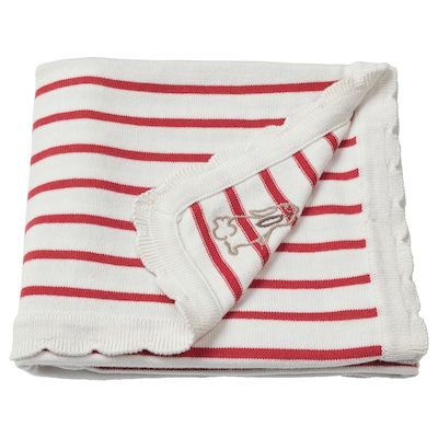 RÖDHAKE Blanket, striped/white/red, 80x100 cm