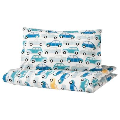 RÖRANDE غطاء لحاف/كيس مخدة لسرير طفل, سيارات/أزرق, 110x125/35x55 سم
