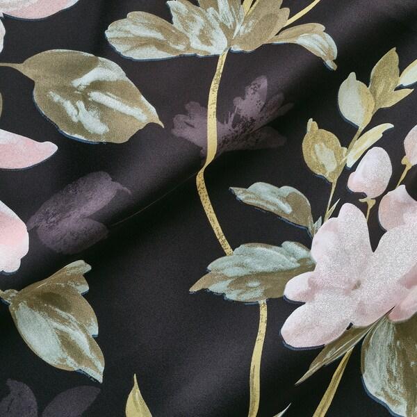 ROSENMOTT Block-out curtains, 1 pair, black/floral patterned, 145x300 cm