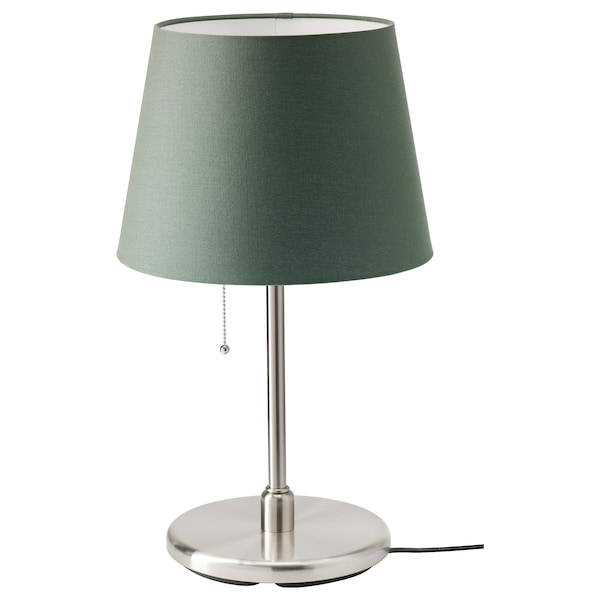 RYRA / KRYSSMAST Table lamp, dark green/nickel-plated, 33 cm
