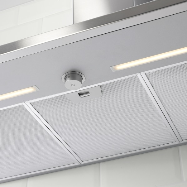 RYTMISK Wall mounted extractor hood, stainless steel, 90 cm