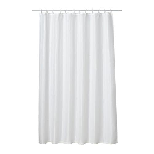 SALTGRUND Shower curtain   Two-sided woven polyester which gives a soft fall and a decorative pattern on both sides.