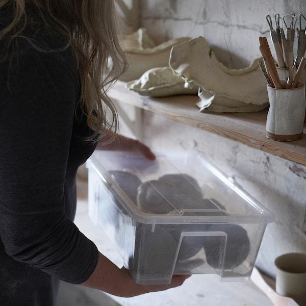 SAMLA صندوق بغطاء, شفاف, 39x28x14 سم/11 ل