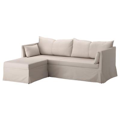 SANDBACKEN Corner sofa-bed, Lofallet beige