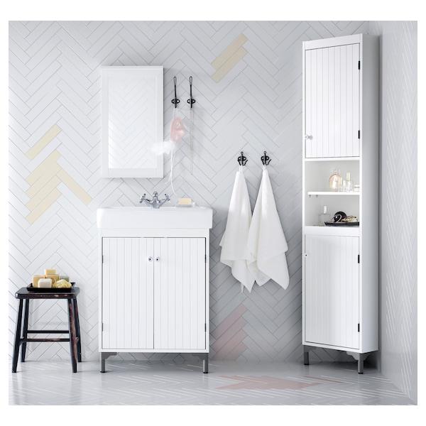 SILVERÅN / HAMNVIKEN خزانة الحوض مع بابين, أبيض/حنفية Runskär, 63x45x91 سم