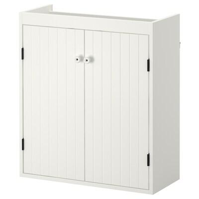SILVERÅN خزانة الحوض مع بابين, أبيض, 60x25x68 سم