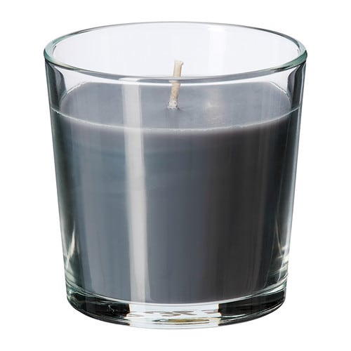 SINNLIG Scented candle in glass   Creates atmosphere with a pleasant scent of calming spa and warm candlelight.