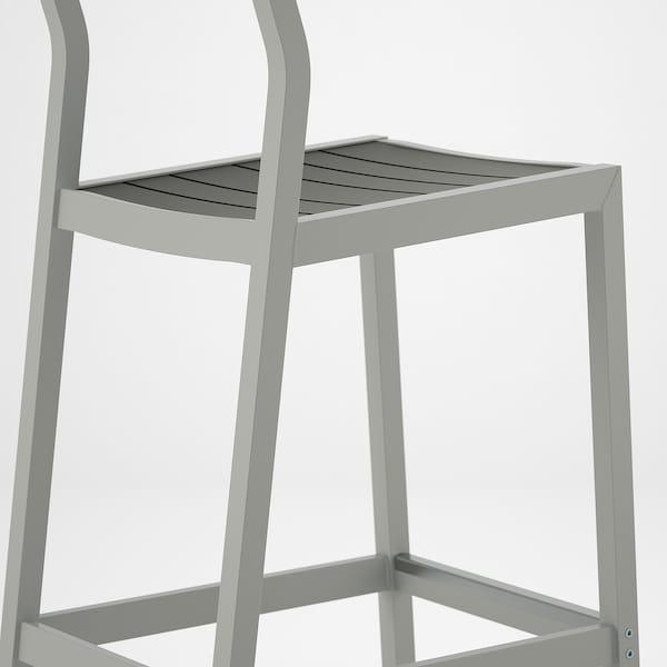 SJÄLLAND Bar stool with backrest, outdoor, light grey/dark grey