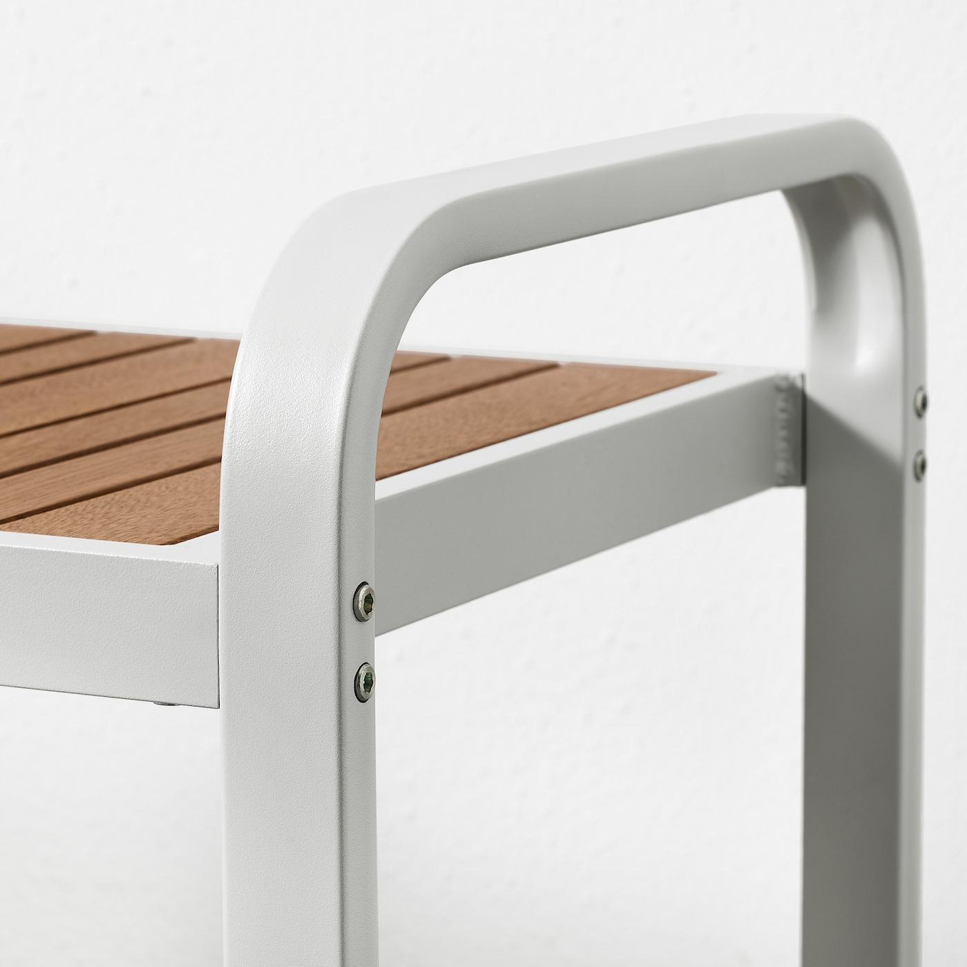 SJÄLLAND Bench, outdoor, light grey/light brown, 136 cm