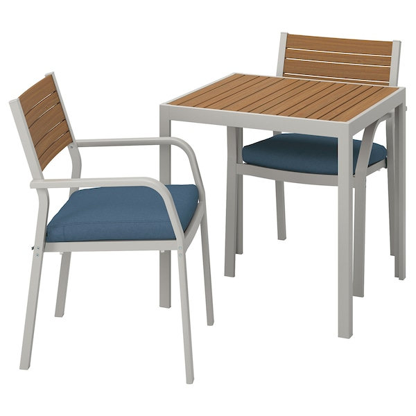 SJÄLLAND Table+2 chairs w armrests, outdoor, light brown/Frösön/Duvholmen blue, 71x71x73 cm