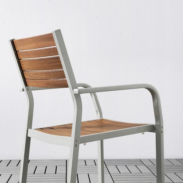 SJÄLLAND Table+2 chairs w armrests, outdoor, light brown/Frösön/Duvholmen dark grey, 71x71x73 cm