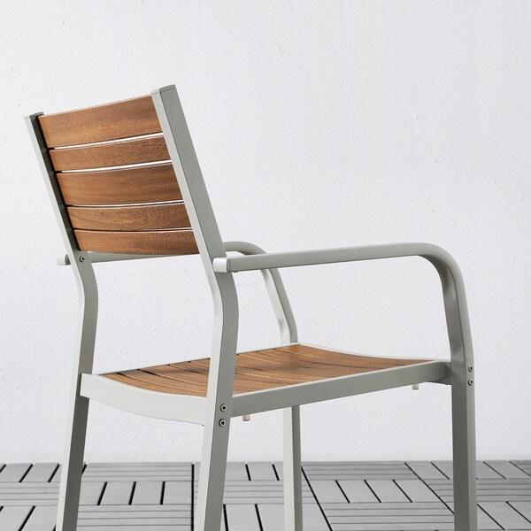 SJÄLLAND Table+2 chairs w armrests, outdoor, light brown/Kuddarna dark grey, 71x71x73 cm