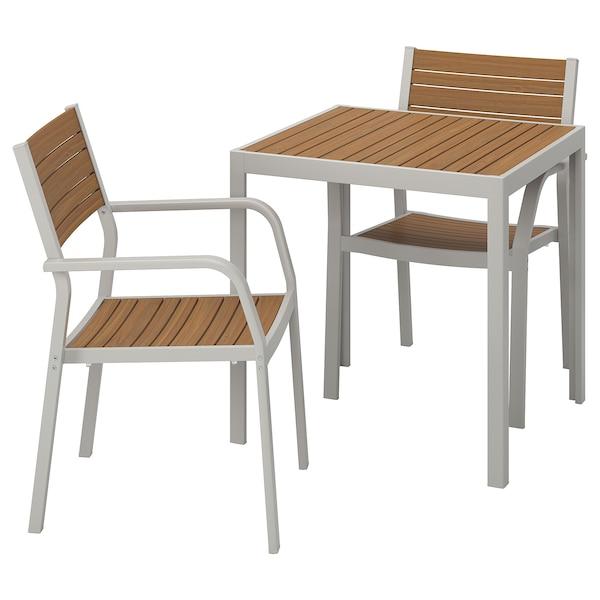 SJÄLLAND Table+2 chairs w armrests, outdoor, light brown/light grey, 71x71x73 cm