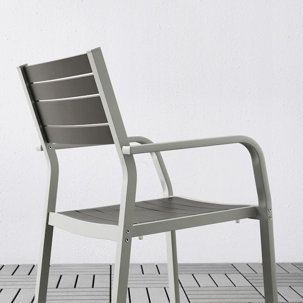 SJÄLLAND Table+4 chairs w armrests, outdoor, dark grey/Frösön/Duvholmen blue, 156x90 cm