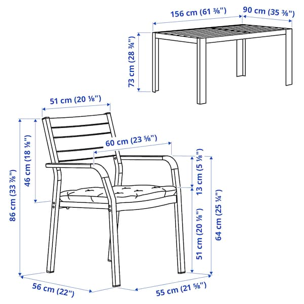 SJÄLLAND Table+4 chairs w armrests, outdoor, dark grey/Kuddarna beige, 156x90 cm