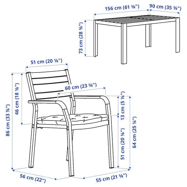 SJÄLLAND Table+4 chairs w armrests, outdoor, dark grey/Kuddarna grey, 156x90 cm
