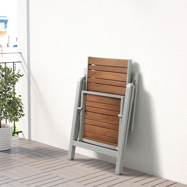 SJÄLLAND Table+4 reclining chairs, outdoor, light brown/Frösön/Duvholmen blue, 156x90 cm