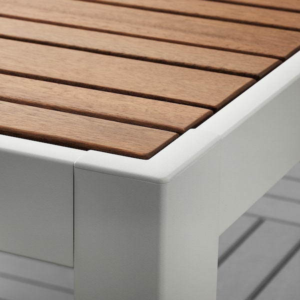 SJÄLLAND Table+4 reclining chairs, outdoor, light brown/Kuddarna beige, 156x90 cm