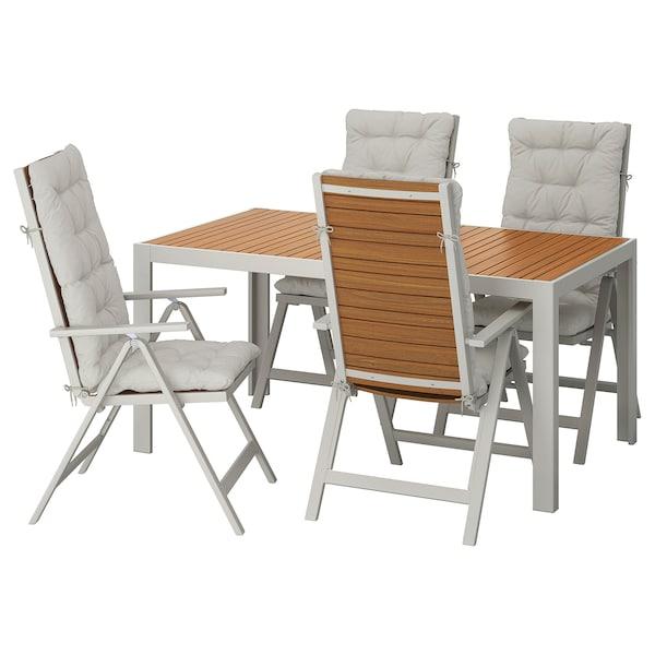 SJÄLLAND Table+4 reclining chairs, outdoor, light brown/Kuddarna grey, 156x90 cm