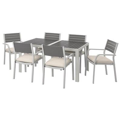 SJÄLLAND Table+6 chairs w armrests, outdoor, dark grey/Frösön/Duvholmen beige, 156x90 cm