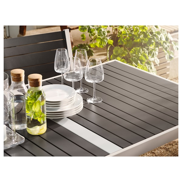 SJÄLLAND طاولة، خارجية, رمادي غامق/رمادي فاتح, 156x90 سم