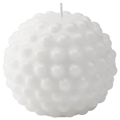 SKÅRAD Unscented block candle, round/white, 9 cm