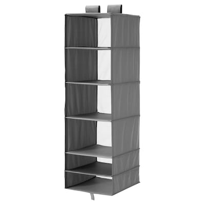 SKUBB Storage with 6 compartments, dark grey, 35x45x125 cm