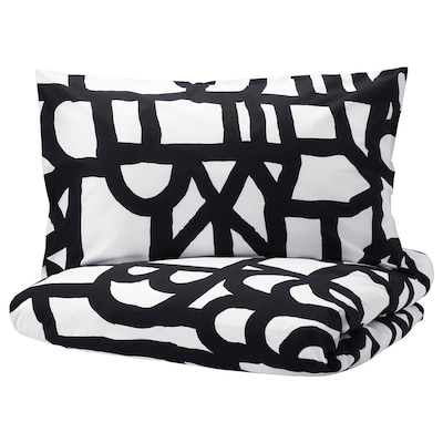 SKUGGBRÄCKA Quilt cover and pillowcase, white/black, 150x200/50x80 cm