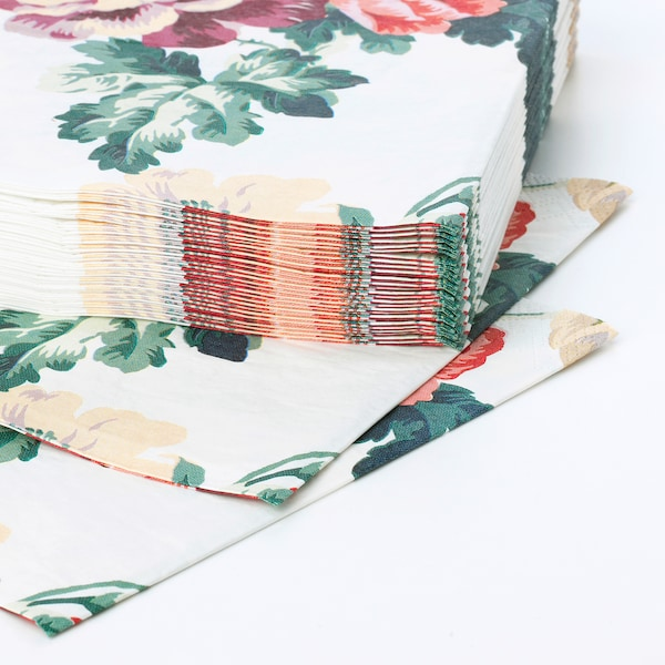 SMAKSINNE مناديل ورقية, عدة ألوان/زهرة, 33x33 سم