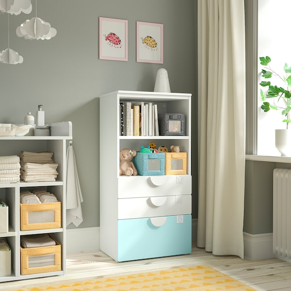 SMÅSTAD / PLATSA Bookcase, white pale turquoise/with 3 drawers, 60x42x123 cm