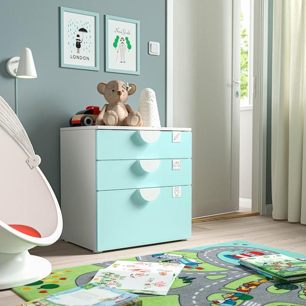 SMÅSTAD / PLATSA Chest of 3 drawers, white/pale turquoise, 60x42x63 cm