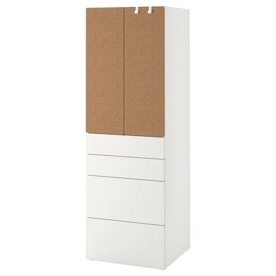 SMÅSTAD / PLATSA Wardrobe, white cork/with 4 drawers, 60x57x181 cm