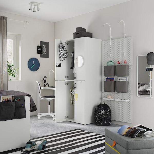 SMÅSTAD Wardrobe, white cork/with 2 clothes rails, 60x57x181 cm
