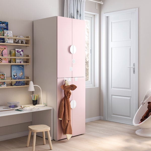SMÅSTAD Wardrobe, white pale pink/with 2 clothes rails, 60x57x181 cm